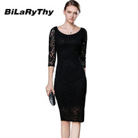 Autumn Ladies Women Pencil Bandage Bodycon Wrap Vintage Celebrity Party Elegant  Black Lace Midi Dress Have Lining Plus Size
