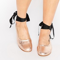 KG By Kurt Geiger Kitty Metallic Leather Tie Up Ballerina Flat Shoes at asos.com