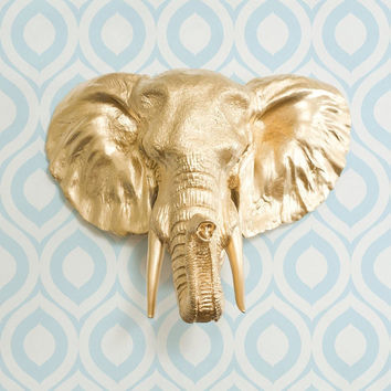The Large Savannah Gold Faux Taxidermy Resin Elephant Head Wall Mount | Gold Elephant w/ Colored Tusks