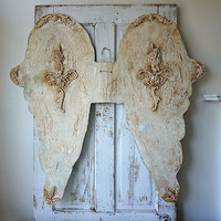 Huge metal angel wings painted distressed ornate shabby cottage chic home decor or embellishment for dress forms statues anita spero design