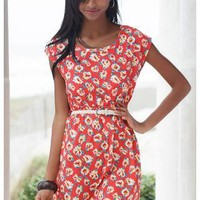 CORAL FLORAL PRINT CRISSCROSS BACK DRESS