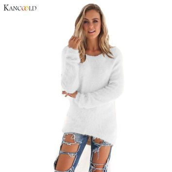 Pullover 2017 Autumn Winter Women's o-Neck Sweater Women Hedging Loose Pullover Casual Solid Knitted Sweater Top for Female newA
