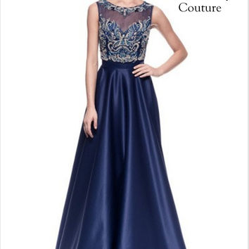 Kari Chang KC49 Navy Satin High Neck A-line Prom Dress Evening Gown