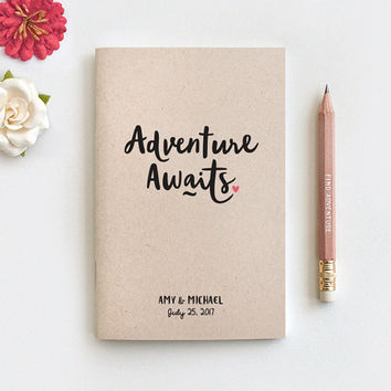 Adventure Awaits Personalized Travel Journal & Pencil - Wedding Gift, Honeymoon Journal Engagement Anniversary Gift