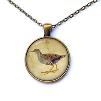 Vintage jewelry Bird pendant Animal necklace CWAO32