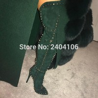 Black Red Green Pointed Spiked Shoes Female Over The Knee Botas Stiletto Heels Women Booties Rivet Studs Suede Thigh High Boots