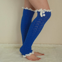 Royal blue knit lace leg warmers boot socks boot cuffs birthday gifts women's accessory christmas gifts high knee sock chunky leg warmers