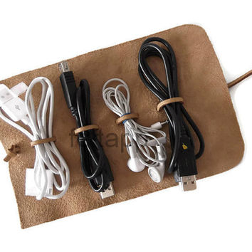 Leather Cord Roll, Cable Organizer, Cord Organizer,  Cord Wrap, Cable Holder, Cord Travel Case, Cable Wrap,Headphone Holder,Cord Holder.