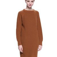 Brown Asymmetric Long Sleeve Knitted Dress