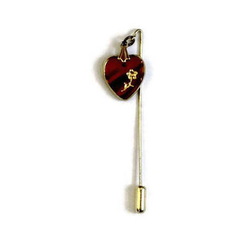 Heart Stick Pin, Glass Tortoise Shell With Carved Gold Rose In Gold Tone, Valentine's day Gift