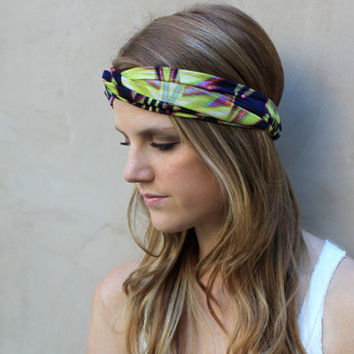 Knotted Headband, Twisted Headband, Turband, Neon Green, Navy Blue, Pink