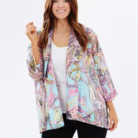 Love Your Wardrobe Plus Size Blue Paisley Print Kimono Cape