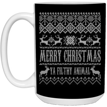 Ugly Christmas Sweater Home Alone Merry Christmas Ya Filthy Animal 21504 15 oz. White Mug