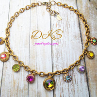 Stained Glass, Swarovski Crystal,High End Fashion Necklace, Vintage Gold, Multi Color, Charms,  DKSJewelrydesigns, FREE SHIPPING