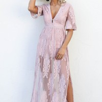 Call For Love Mauve Maxi Romper