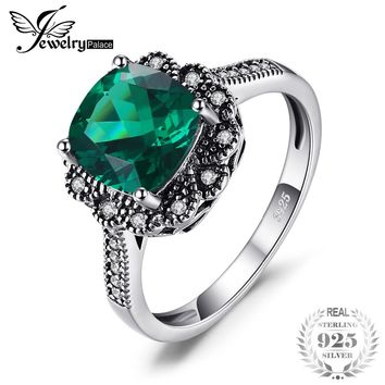 Vintage 2.2ct Square Created Emerald Promise 925 Sterling Silver Ring