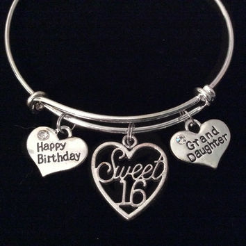 Granddaughter Happy Birthday Sweet 16 Expandable Charm Bracelet Adjustable Bangle Teenager Teen Gift Sixteen Grand Daughter