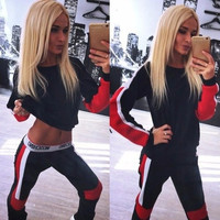 Casual Hot Women 2Pcs Tracksuit Hoodies Sweatshirt Pants Sets Sport Wear Suit = 5710911425