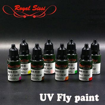 8colors Royal Sissi brand UV Fly paint glue colorful thick 10ML UV glue instant cures resin glue fly fishing chemical/chemistry