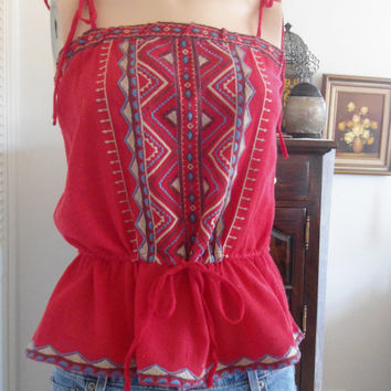 Size Small Medium Red Tie Halter Top Embroidered southwest hippie boho gypsy cowgirl glam style clothes bohemian gypsy soul clothing