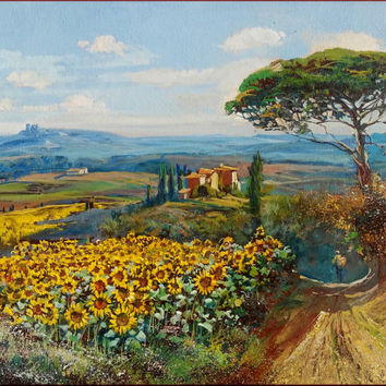 Italian painting country path with sunflowers Tuscany landscape original oil on canvas of Giuseppe Landi Italy