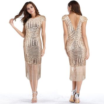 summer dress new women maxi sequin dress female mesh Fringed Sexy backless dress women party dresses robe sexy vestido mujer