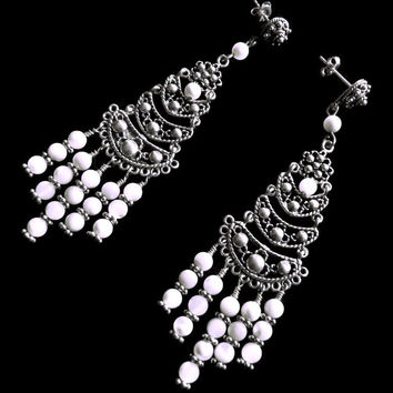 White Mother of Pearl Sterling Silver Long Chandelier Earrings