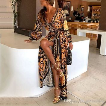 Plus Size Ladies Long Sleeve Floral Bohemian Fashion Women Party Bodycon Maxi Dress Clothing Print Vestidos