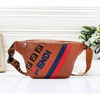 Fendi Fashion New Letter Print Shopping Leisure Shoulder Bag Women Brown