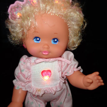 "Vintage Mattel Baby PJ Twinkles 13"" light up doll 1989 WORKS!  PJ Sparkles"