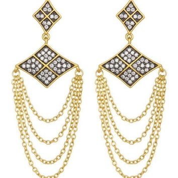 Freida Rothman | 14K Gold Plated Sterling Silver Contemporary Deco Chain Drop Earrings