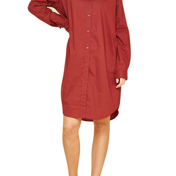 Women Button Down Long Sleeve Boxy Shirt Dress