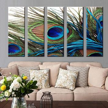 5 Pcs/Set  Peacock Feather Wall Art Top Home Decoration Modern Wall Painting Canvas Art Cheap Canvas Wall Art Picture