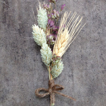 Handmade Wedding Corsages Boutonnieres - Wheat Boutonnieres, Phalaris Boutonnieres, Oregano Boutonnieres, Twine Country Rustic