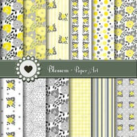 Gray Yellow Flowers - Digital Paper - Scrapbooking - Personal and Commercial Use - 1388