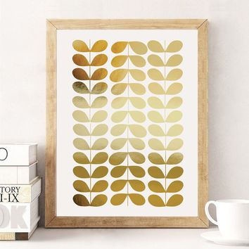 Grain Pattern Print, Abstract Print Poster, Real Gold Foil, Mid Century Modern, Gold Grain Pattern, Minimalist Poster, Home Decor.