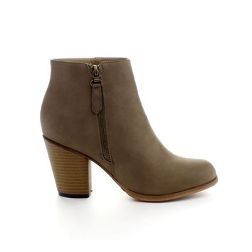 Reneeze BABA-02 Women Fashion Comfy Stacked Chunky Heel Side Zipper Ankle Bootie, Color:KHAKI, Size:5.5
