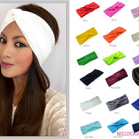 Women's Cotton Turban Headband Wrap Twisted Knotted Hair Band
