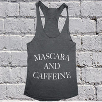 Mascara and caffeine Tank top yoga racerback funny slogan cute fashion tops gift girls