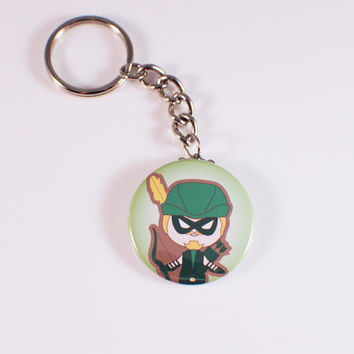 Green Arrow Button Keychain