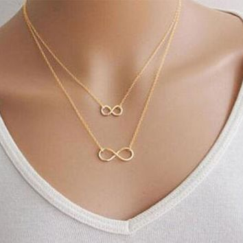 Tomtosh 2017 New Hot Gold Silver Women Girl Fashion Jewelry Double Infinity Pendant Necklace Wedding Event Necklaces