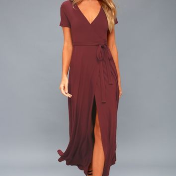Evolve Plum Purple Wrap Maxi Dress