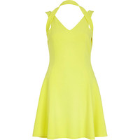 River Island Womens Yellow strappy skater dress