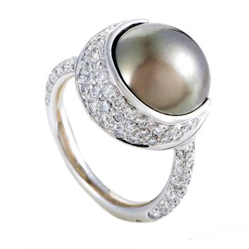 Chanel 13.77mm Black Tahitian Pearl Diamond Gold Ring