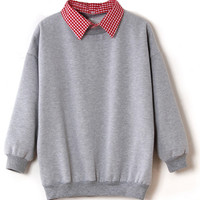 ROMWE | Detachable Checks Collar Grey Pullover, The Latest Street Fashion