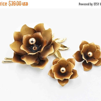 ON SALE Vintage Coro Enamel Flower Set, Gold, Tan & Brown, Brooch and Clip Earrings, Demi Parure, Hibiscus, Floral, 3D, Lovely! #b835