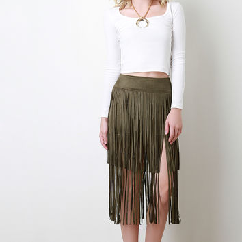 Suede Double Layer Fringe Midi Skirt