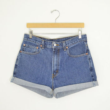 "LEVIS 505 High Waisted Shorts Dark Wash Denim Boyfriend Jeans Cuffed Rolled Cutoff Hem Festival Concert Wear Size 32"" Waist"