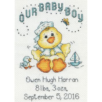 "Our Baby Boy Chick Birth Record Mini Counted Cross Stitch Ki 5""X7"" 14 Count"