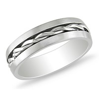 Braided Center Line Design Ring in Stainless Steel